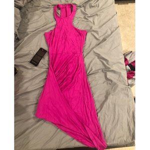 BEBE high neck asymmetrical hot pink dress